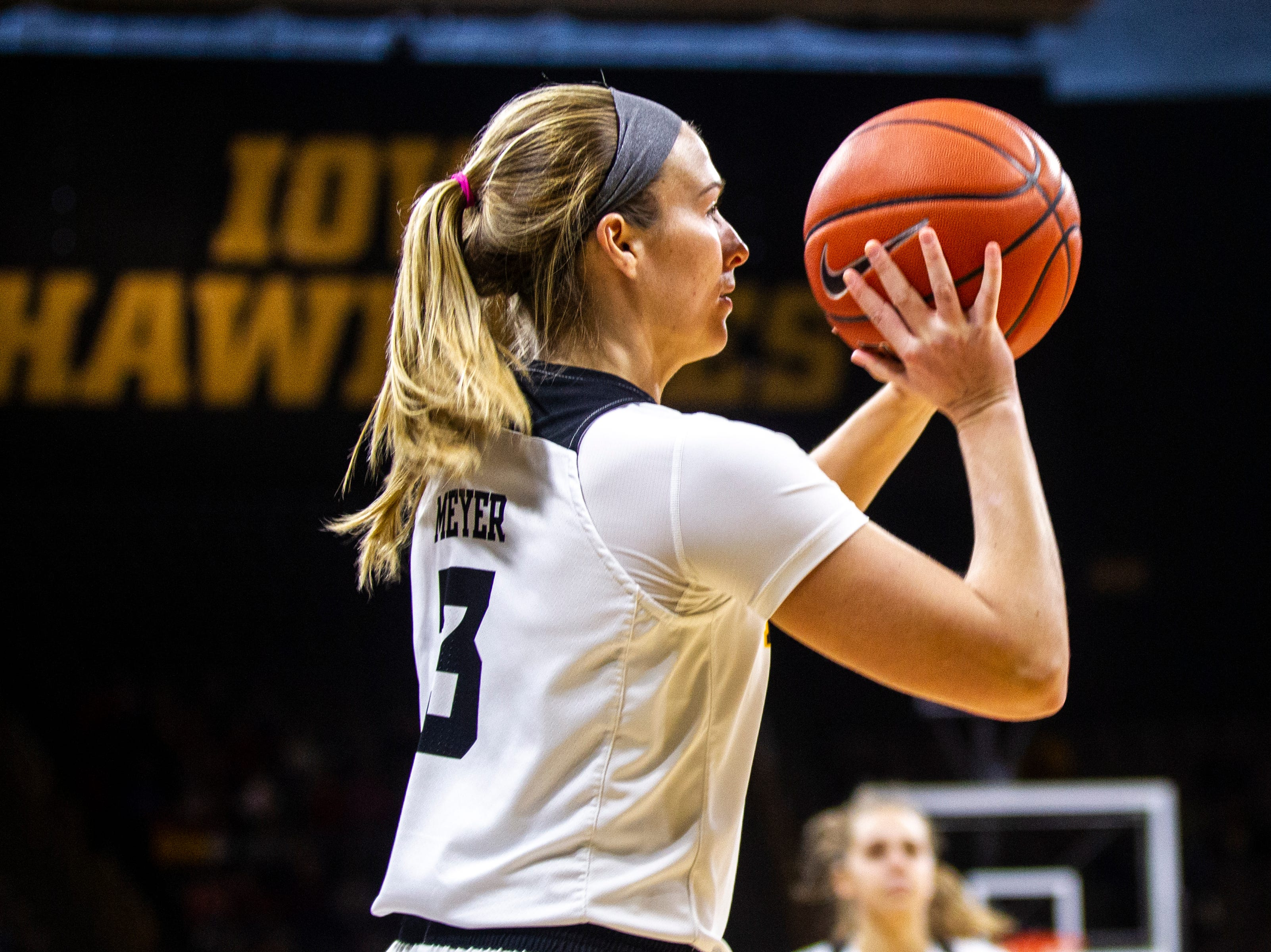 Iowa guard Makenzie Meyer (3) shoots a 3-point basket during a NCAA Big Ten Conference women's basketball game on Sunday, Jan. 27, 2019, at Carver-Hawkeye Arena in Iowa City, Iowa.