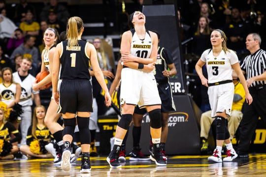 Iowa center Megan Gustafson (10) reacts after getting called for a foul during a NCAA Big Ten Conference women's basketball game on Sunday, Jan. 27, 2019, at Carver-Hawkeye Arena in Iowa City, Iowa.