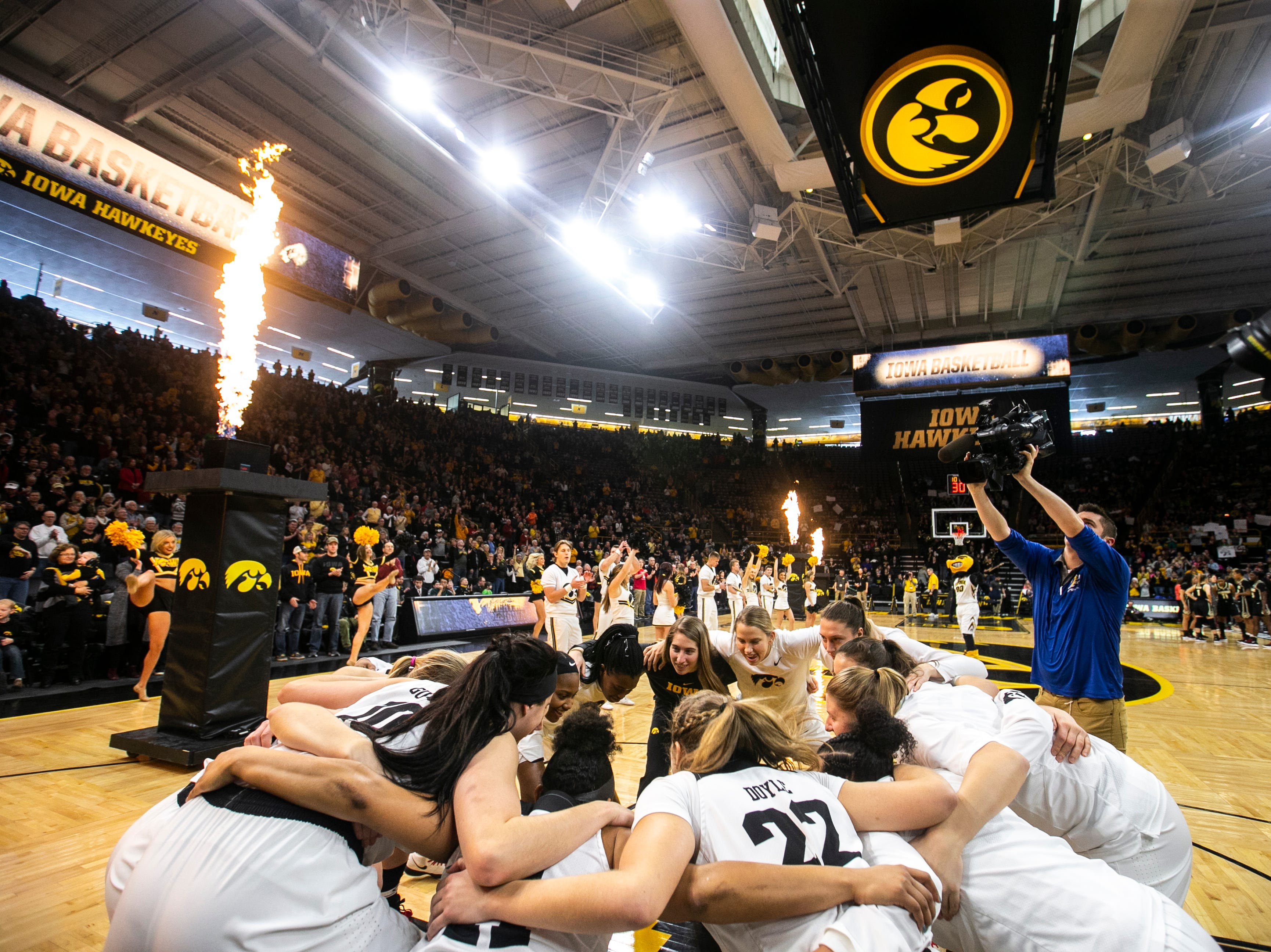 Iowa Hawkeyes huddle up during a NCAA Big Ten Conference women's basketball game on Sunday, Jan. 27, 2019, at Carver-Hawkeye Arena in Iowa City, Iowa.