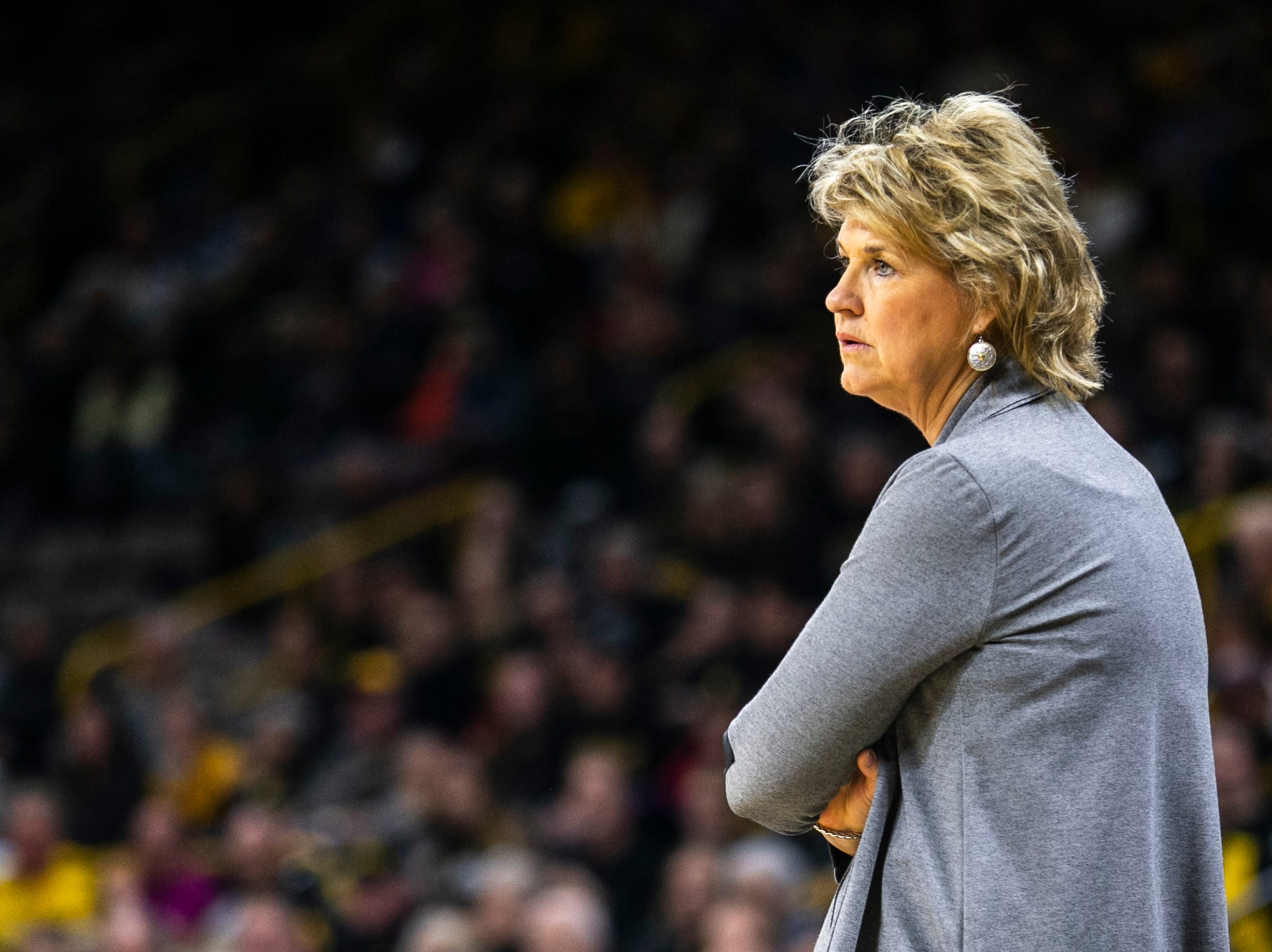 Iowa head coach Lisa Bluder looks on during a NCAA Big Ten Conference women's basketball game on Sunday, Jan. 27, 2019, at Carver-Hawkeye Arena in Iowa City, Iowa.