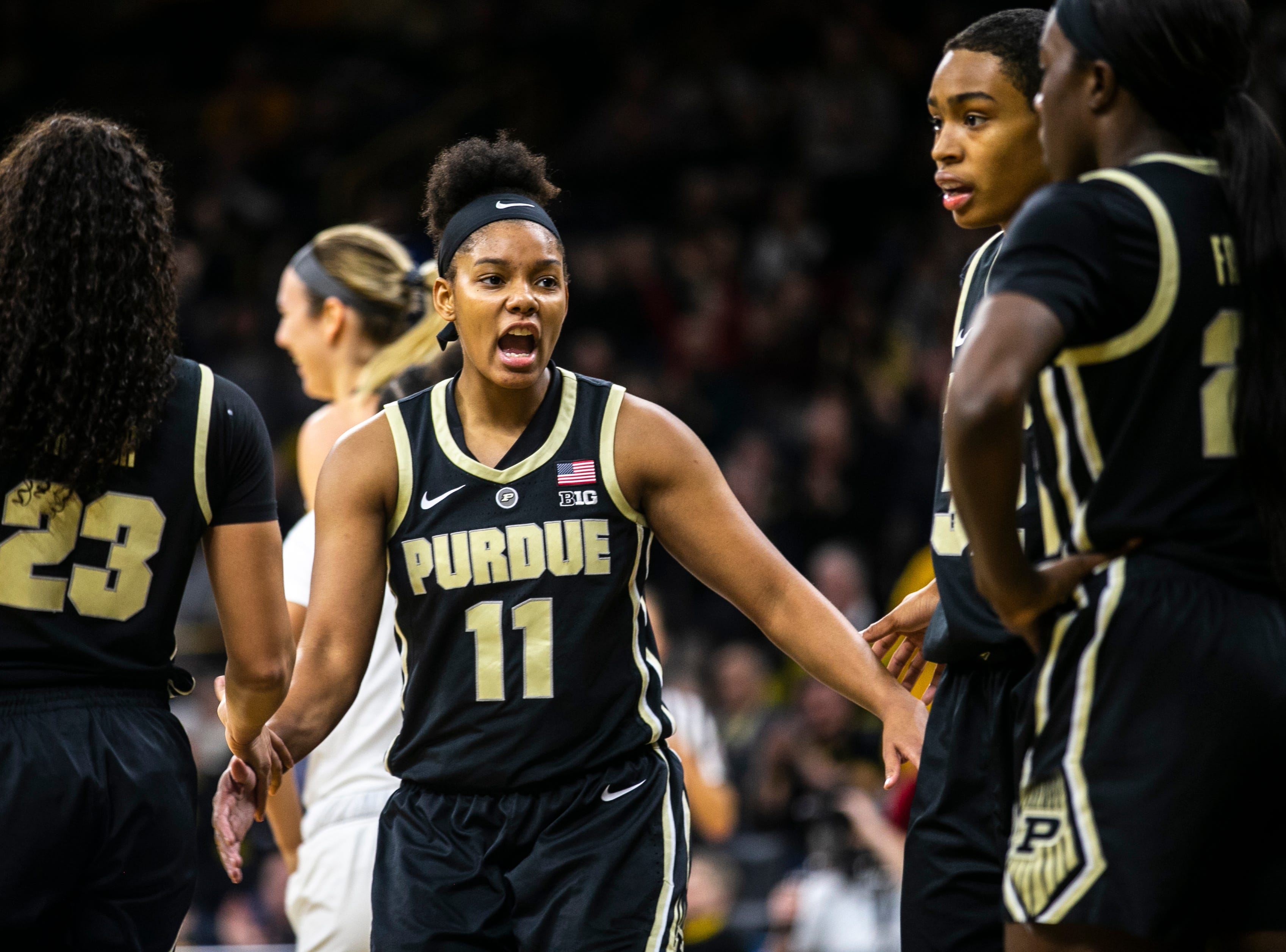 Purdue guard Dominique Oden (11) talks with teammates during a NCAA Big Ten Conference women's basketball game on Sunday, Jan. 27, 2019, at Carver-Hawkeye Arena in Iowa City, Iowa.