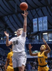 Butler Bulldogs guard Kristen Spolyar (24) takes the ball to the basket for a layup in the first half of the game at Hinkle Fieldhouse in Indianapolis, Sunday, Jan. 27, 2019. Butler lost to Marquette, 58-87.