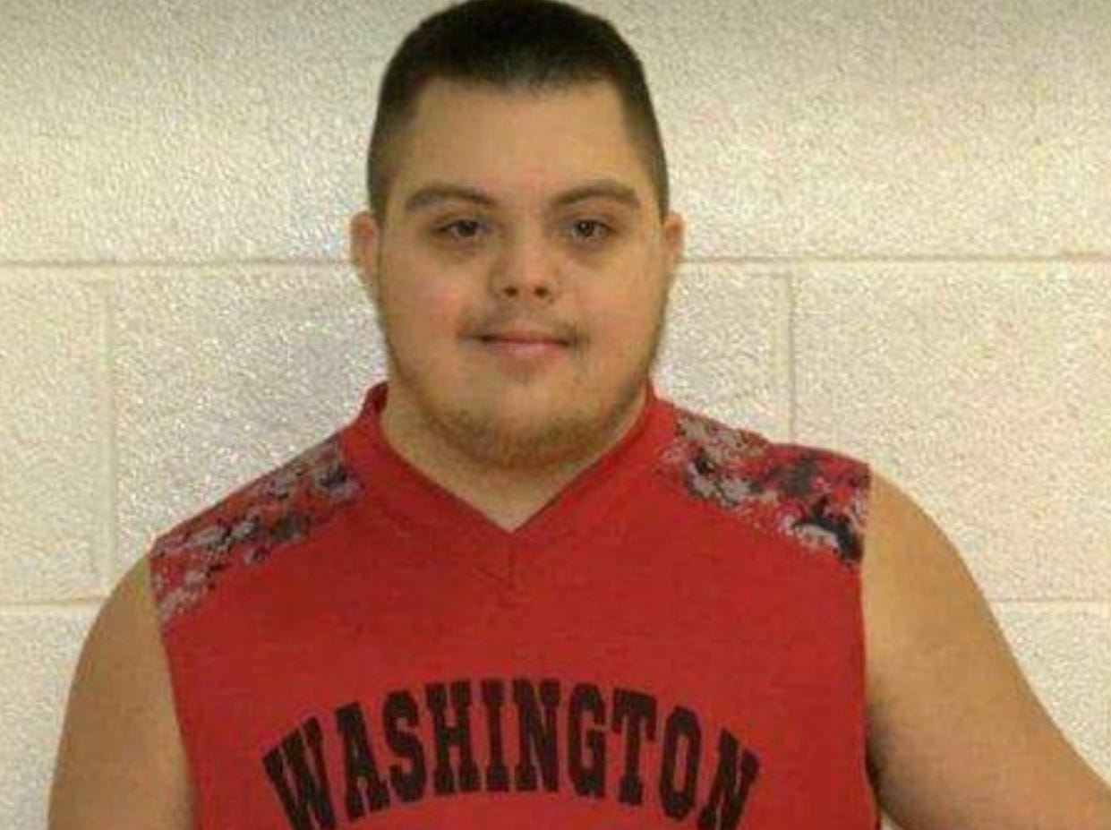 Jalen Pigg is shown here in his basketball jersey. Jalen, who was born with Down Syndrome, and participates in the Special Olympics, is now battling a form of leukemia, but he has a lot of support from his family and comunuity.