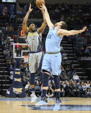 Jan 26, 2019; Memphis, TN, USA; Indiana Pacers forward Thaddeus Young (21) attempts a shot that is partially blocked by Memphis Grizzlies center Marc Gasol (33) in the first quarter at FedExForum.
