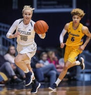 Butler Bulldogs guard Whitney Jennings (15) brings the ball up court in the first half of the game at Hinkle Fieldhouse in Indianapolis, Sunday, Jan. 27, 2019. Butler lost to Marquette, 58-87.