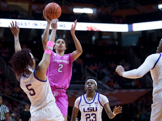 Tennessee's Evina Westbrook (2) attempts to score while guarded by LSU's Ayana Mitchell (5) on Sunday.