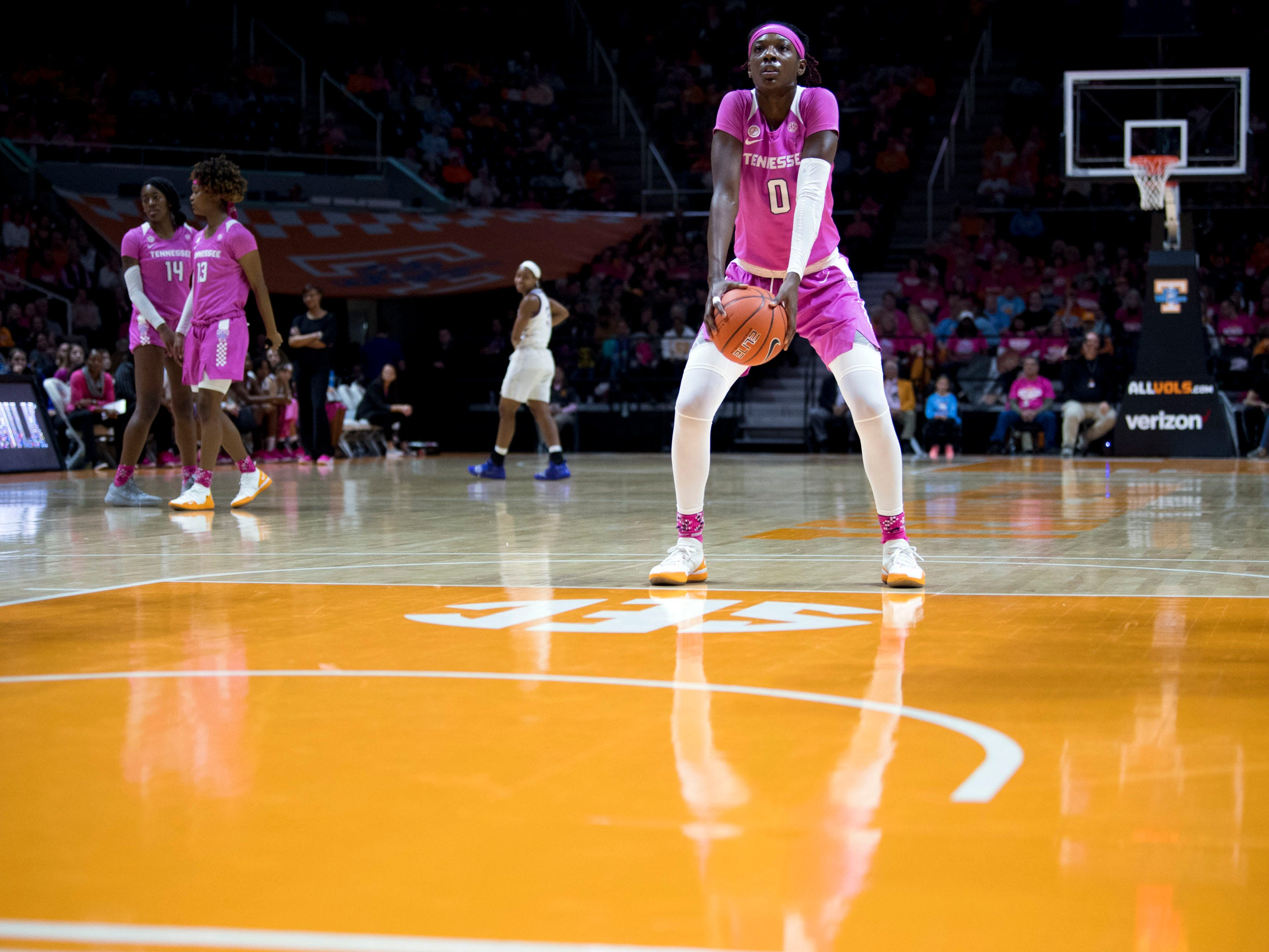 Tennessee's Rennia Davis (0) at the free-throw line in game against LSU on Sunday, January 27, 2019.
