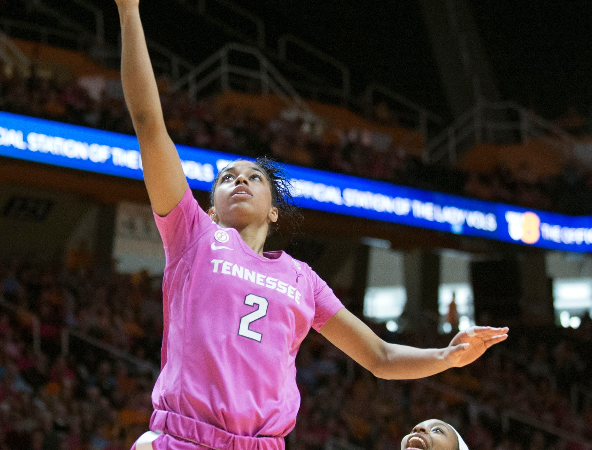 Tennessee's Evina Westbrook (2) scores over LSU's Khayla Pointer (3) on Sunday, January 27, 2019.
