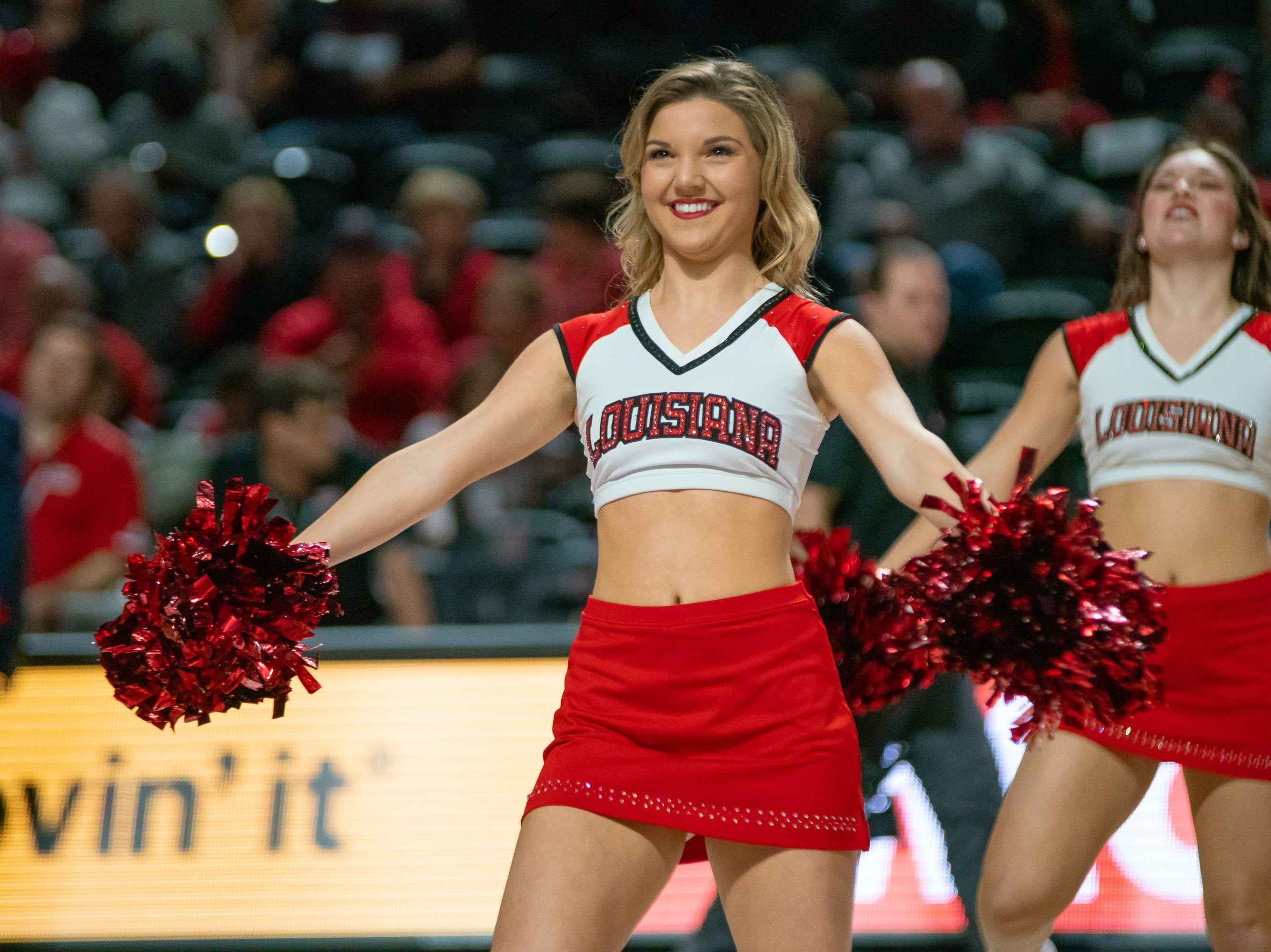 Ragin' Jazz dancer Bailey Landry performs at half-time as the Ragin' Cajuns take on the Troy Trojans at the Cajundome on Jan. 26, 2019.