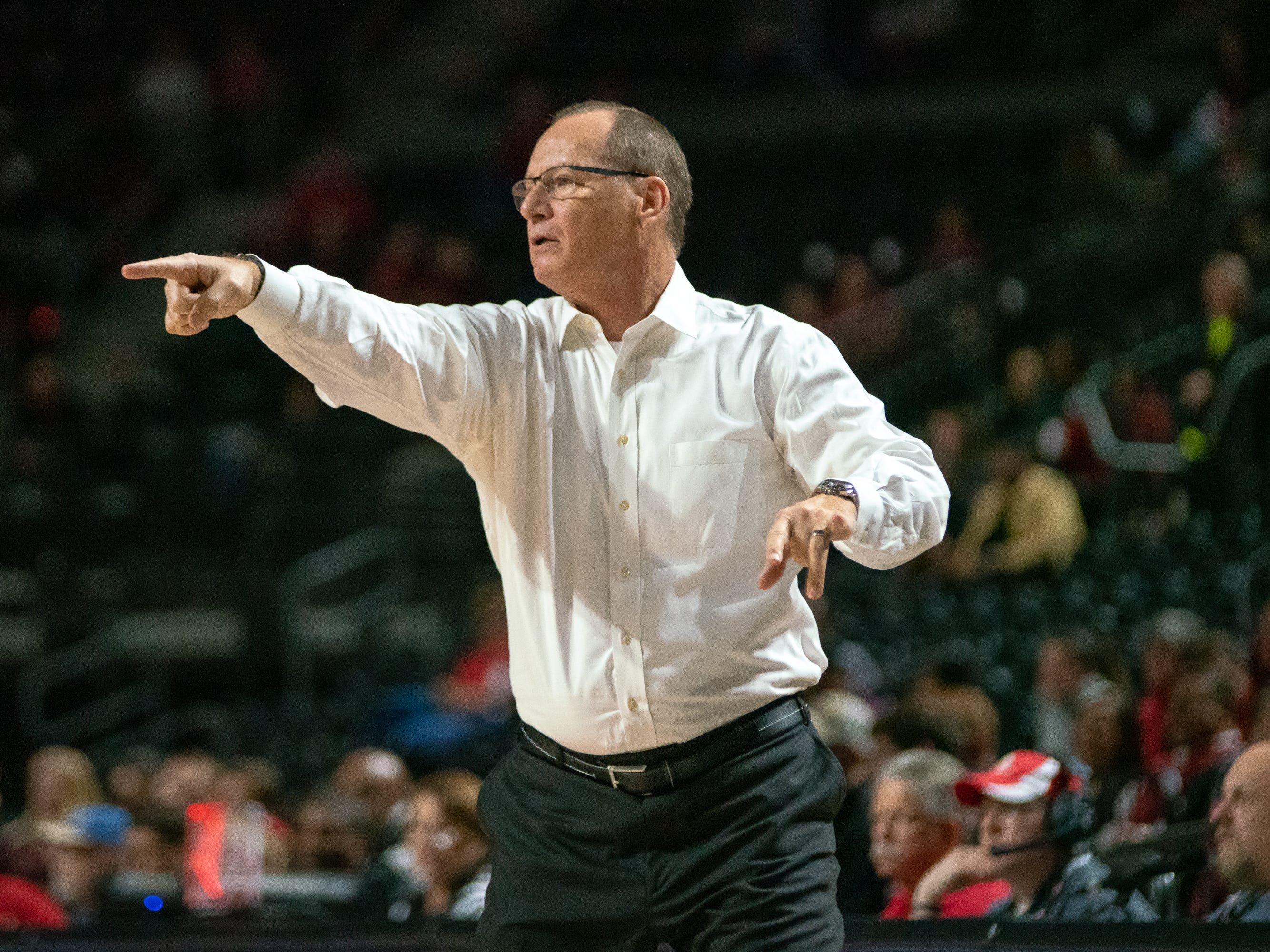 UL's head coach Bob Marlin directs his team from the sidelines as the Ragin' Cajuns take on the Troy Trojans at the Cajundome on Jan. 26, 2019.