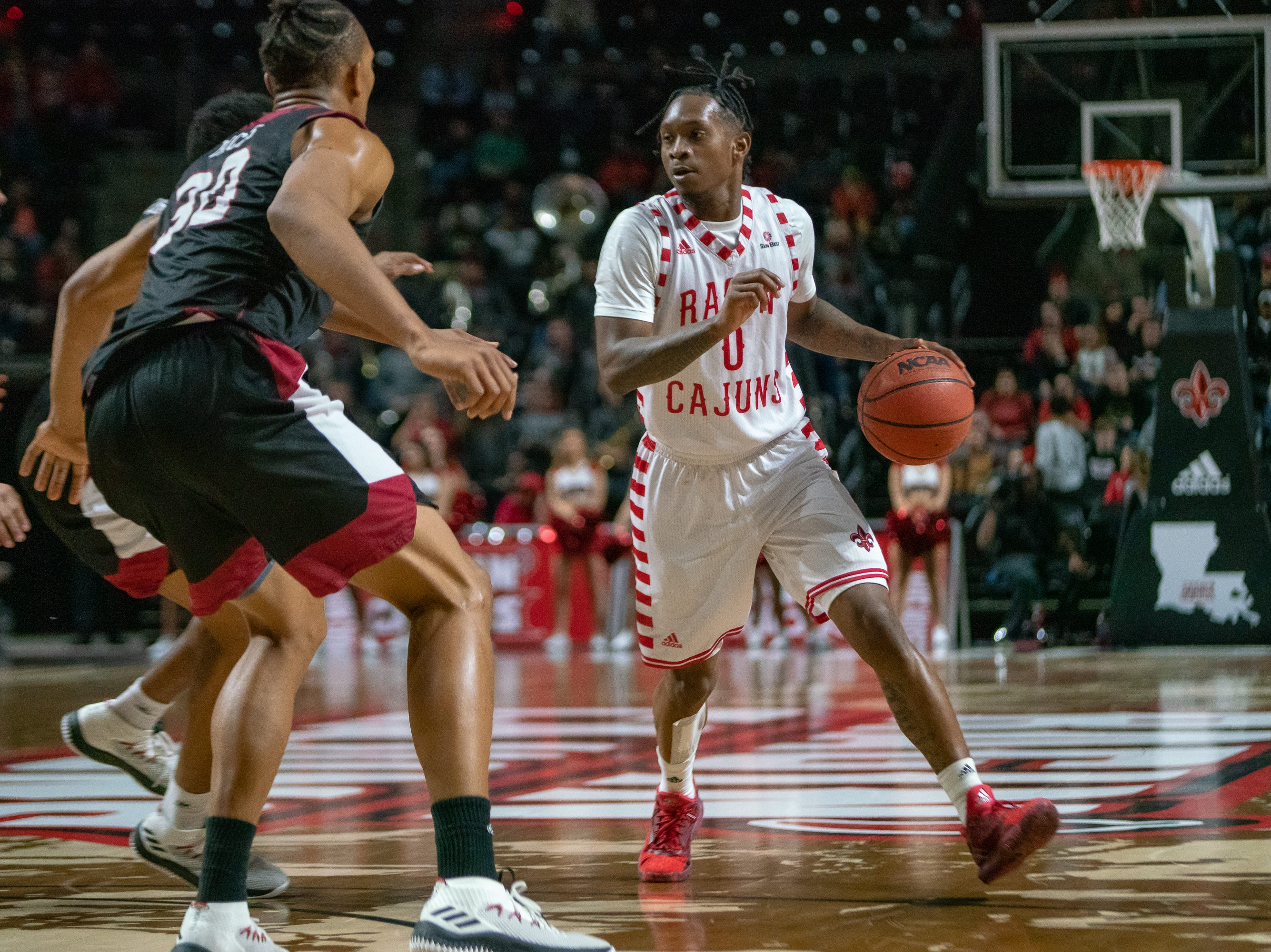 UL's Cedric Russell looks for an open path to the goal as the Ragin' Cajuns take on the Troy Trojans at the Cajundome on Jan. 26, 2019.