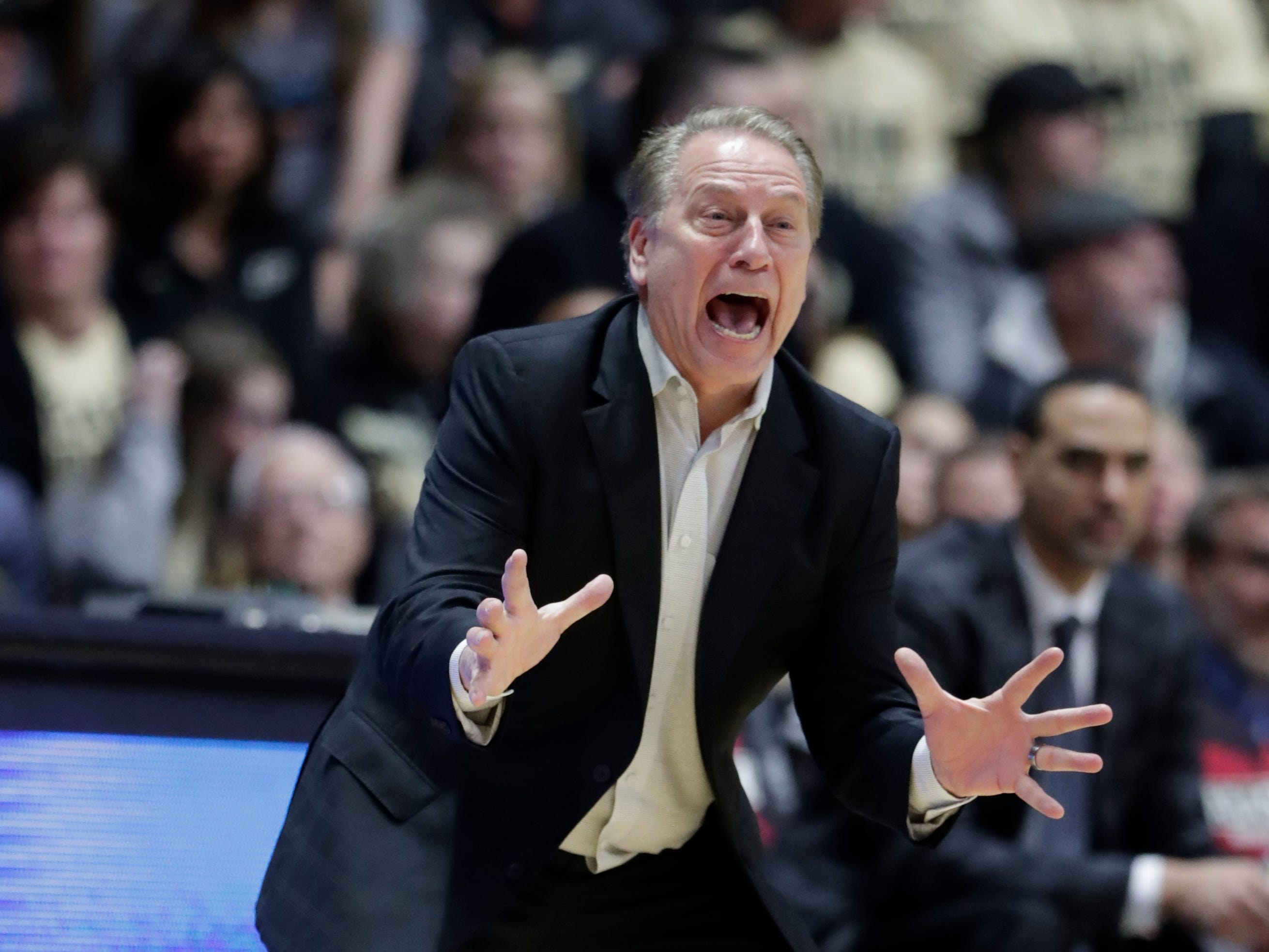 Michigan State head coach Tom Izzo gestures during the second half of an NCAA college basketball game against Purdue in West Lafayette, Ind., Sunday, Jan. 27, 2019.
