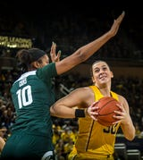 Michigan State women's hoops players Jenna Allen, Victoria Gaines and Taryn McCutcheon discuss their 77-73 win over Michigan on January 27, 2019.