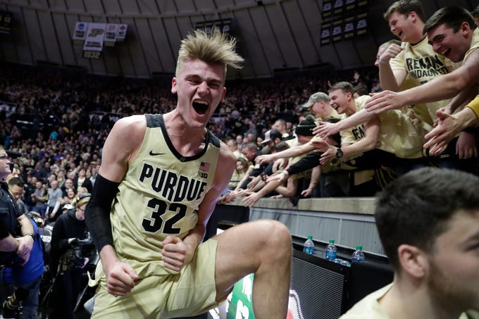 Purdue center Matt Haarms (32) celebrates following an NCAA college basketball game against Michigan State in West Lafayette, Ind., Sunday, Jan. 27, 2019.