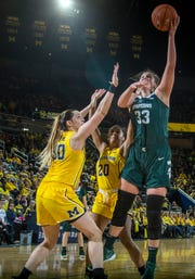 Michigan center Hallie Thome (30) and guard Deja Church (20) defend Michigan State center Jenna Allen (33) in the second half of an NCAA college basketball game at Crisler Center in Ann Arbor, Mich., Sunday, Jan. 27, 2019. Michigan State won 77-71.
