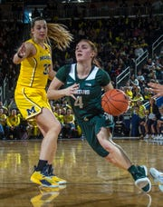 Michigan State guard Taryn McCutcheon (4) dribbles by Michigan center Hallie Thome (30) in the second half of an NCAA college basketball game at Crisler Center in Ann Arbor, Mich., Sunday, Jan. 27, 2019.