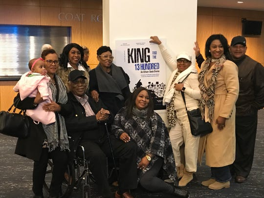 Charles Kelsey, seated, poses with family after watching a performance of 'King and the 13 Hundred.' Kelsey chaired the North Mississippi Desoto County Freedom Party and was involved in the 1968 strike.