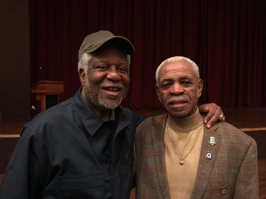 George Stewart, who wrote and stars in a play about the 1968 sanitation workers strike, stands with Elmore Nickleberry, one of the original sanitation workers who marched in 1968.