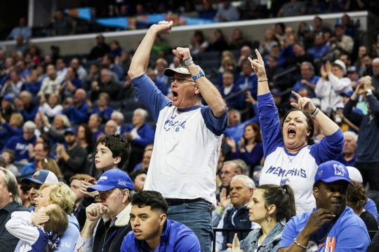 Memphis fans celebrate during Sunday afternoon's game.