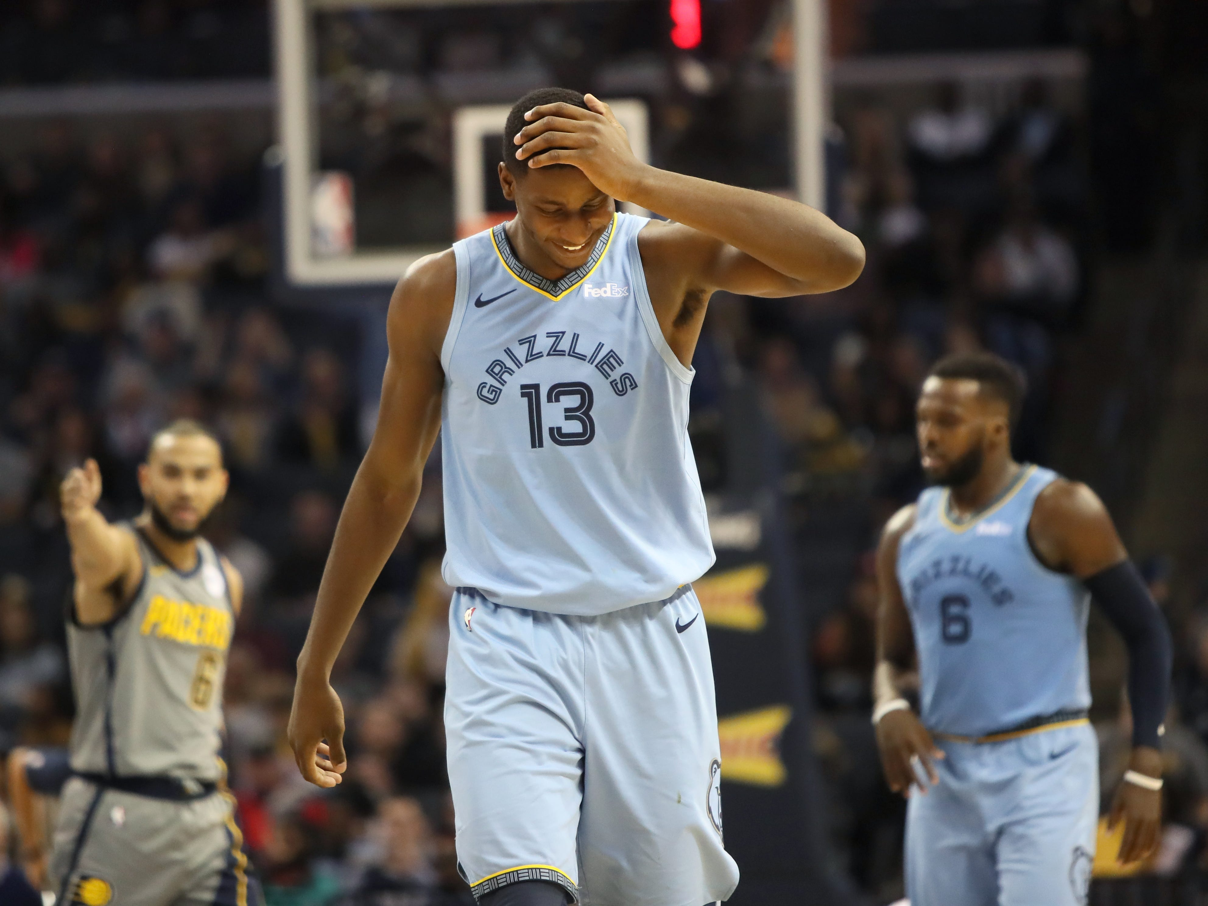 Memphis Grizzlies forward Jaren Jackson Jr. shakes his head in disbelief after being called for a foul against the Indiana Pacers during their game at the FedExForum on Saturday, Jan. 26, 2019.