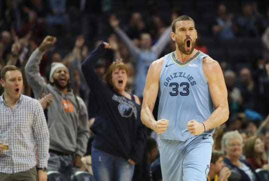 Memphis Grizzlies center Marc Gasol celebrates a made 3-pointer against the Indiana Pacers during their game at the FedExForum on Saturday, Jan. 26, 2019.