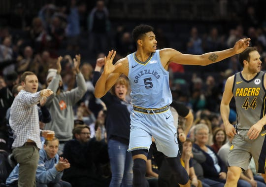 Memphis Grizzlies forward Bruno Caboclo celebrates a made 3-pointer against the Indiana Pacers during their game at the FedExForum on Saturday, Jan. 26, 2019.
