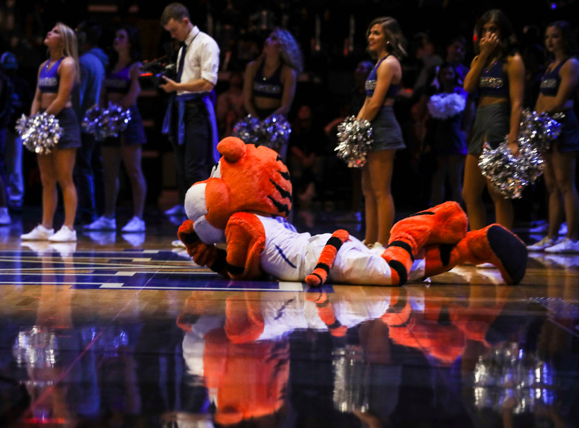 January 27 2019 - Pouncer is seen on the court before the start of Sunday afternoon's game against UCF at the FedExForum in Memphis.