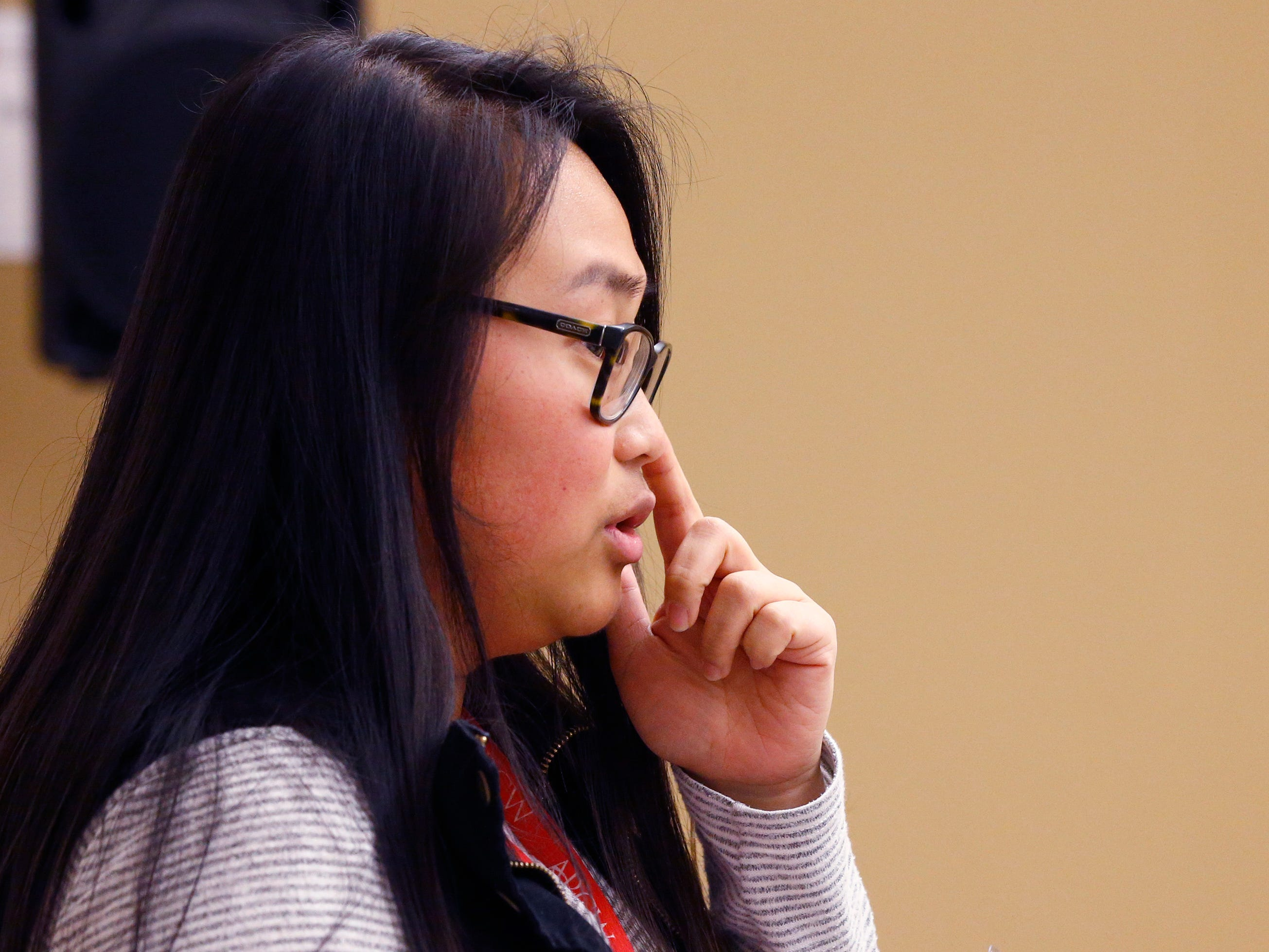 Helen Lai, a prevention specialist from the Aids Resource Center of Wisconsin, describes how to administer nasal Narcan to counteract an opiate overdose during a workshop at the Salvation Army's Greenfield facility on Jan. 24.