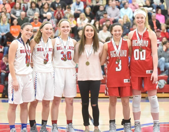 Members of the all-tournament team for senior girls are: (from left) Melbourne's Reagan Rapert, Kiley Webb and Josie Roark, Calico Rock's Jacie Pool, Highland's Briley Pena and Abby Dietsche, and (not pictured) Rural Special's Kamryn Sutterfield.