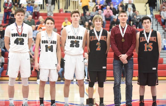 Members of the all-tournament team for senior boys are: (from left) Izard County's Justus Cooper, Coby Everett and Caleb Faulkner, Calico Rock's Cole Whiteaker, Cave City's Trenton Bell, Calico Rock's Connor Sanders, and (not pictured) Highland's Tristan Hudson.
