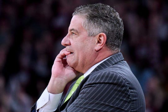 Jan 26, 2019; Starkville, MS, USA; Auburn Tigers head coach Bruce Pearl looks on  during the first half against the Mississippi State Bulldogs at Humphrey Coliseum. Mandatory Credit: Matt Bush-USA TODAY Sports