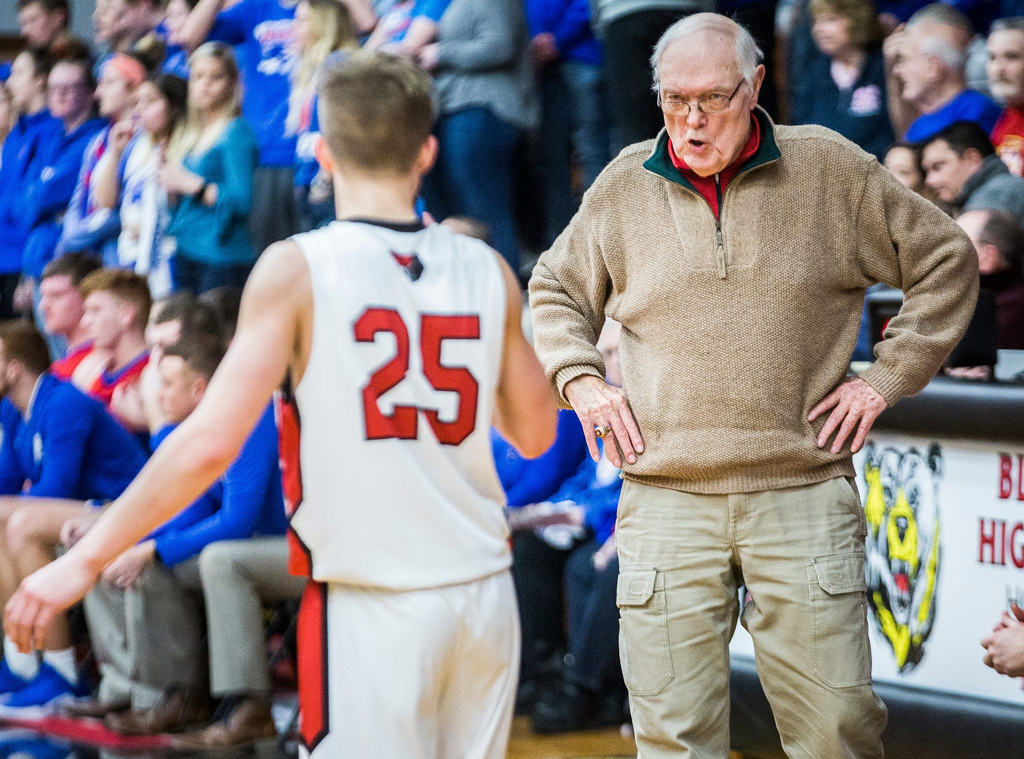 Blackford's Jerry Hoover talks to Luke Brown during the game against Jay County at Blackford High School Saturday, Jan. 26, 2019.