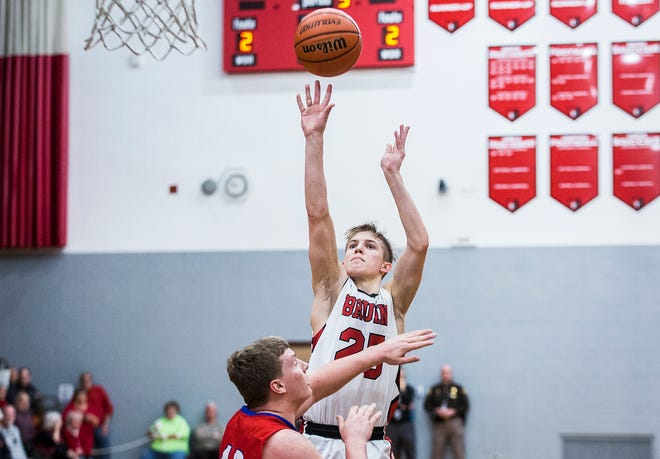 Blackford's Luke Brown, shown here earlier this season against Jay County, scored 39 points Friday against Oak Hill.