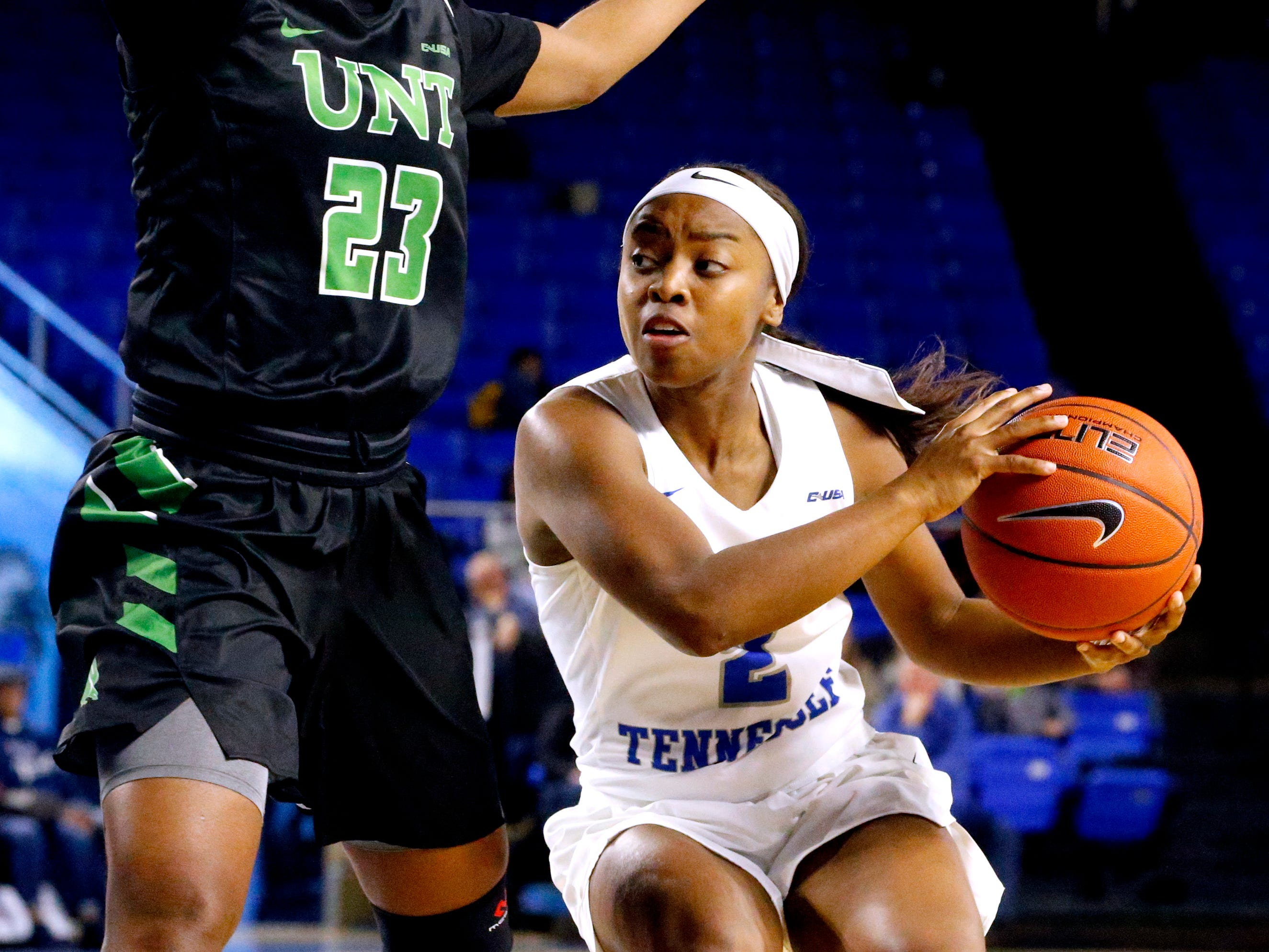 MTSU's guard Taylor Sutton (2) moves around North Texas' guard Terriell Bradley (23) during the game on Saturday Jan. 26, 2019.