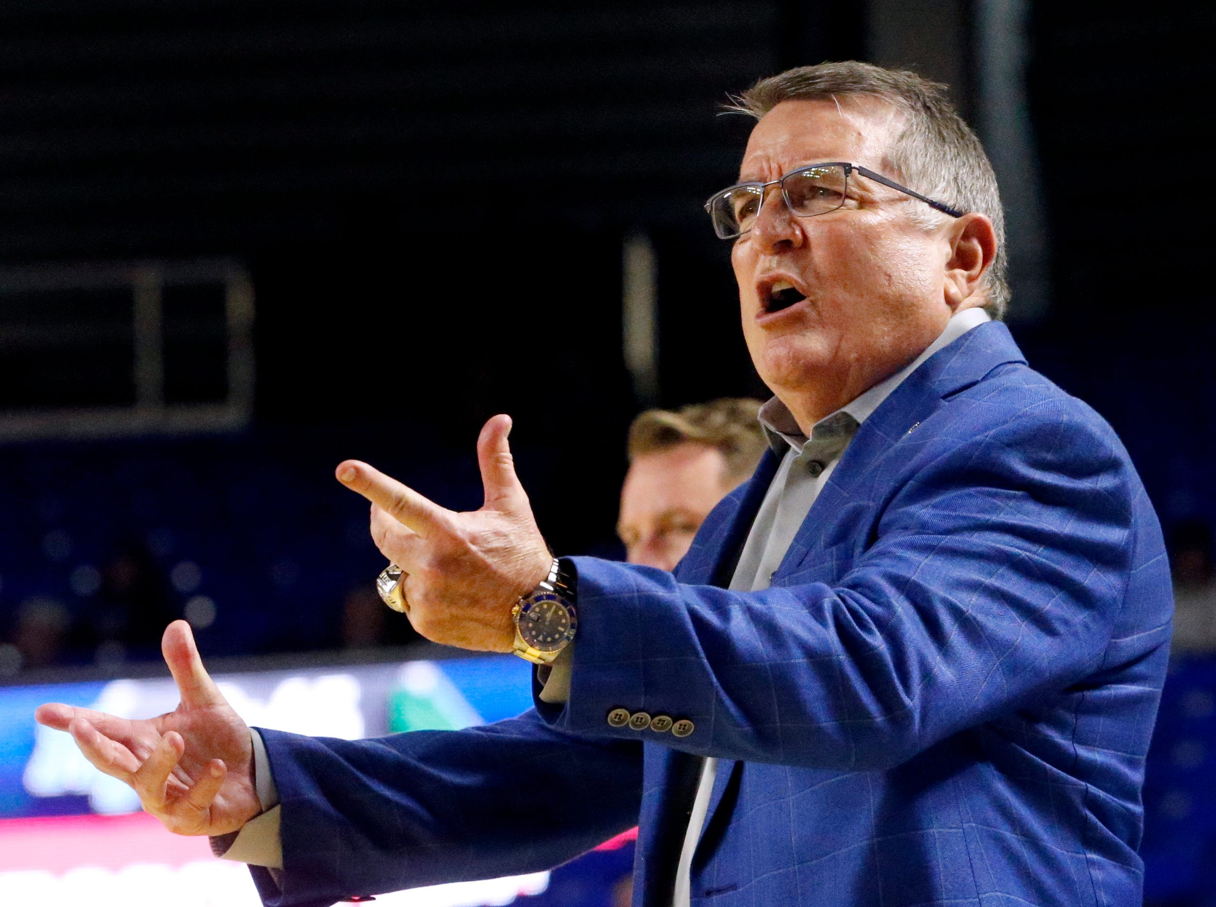 MTSU's head coach Rick Insell  on the sidelines during the game against North Texas on Saturday Jan. 26, 2019.