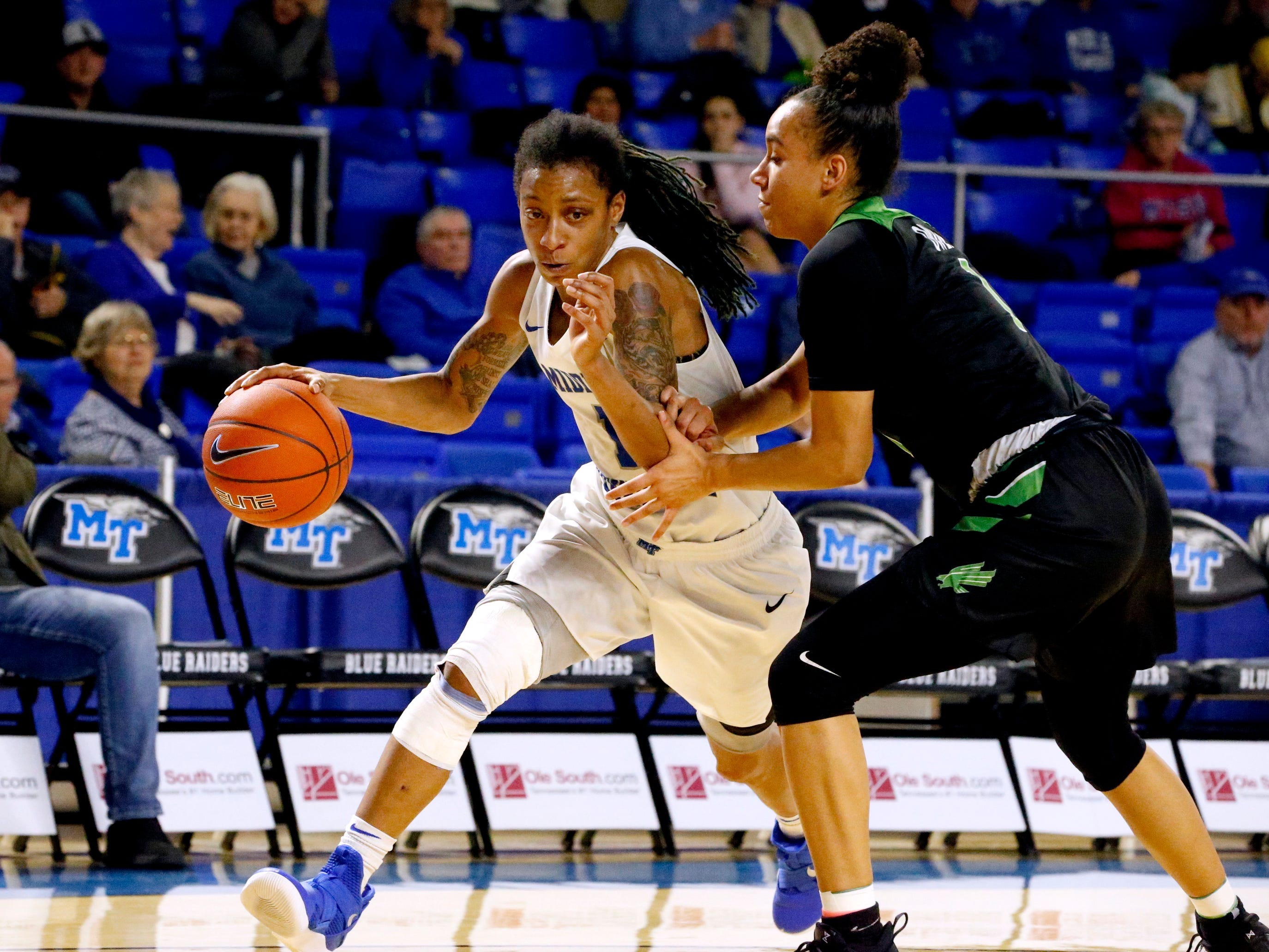 MTSU's guard A'Queen Hayes (1) moves the ball around the court as North Texas' guard Callie Owens (1) covers hr on Saturday Jan. 26, 2019.