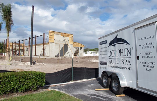 Dolphin Auto Spa car wash is under construction on Collier Boulevard next to the Goodyear Collier Car Care Center north of the RaceTrac station at Manatee Road in East Naples.