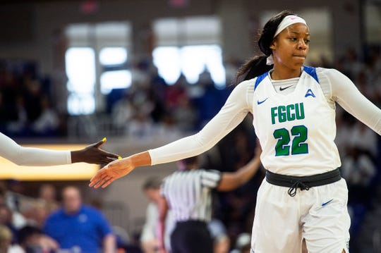 Florida Gulf Coast University's Destiny Washington, shown during a Jan. 27 home game, was suspended one game by the ASUN conference following an altercation with a Liberty player after a game on Saturday, Feb. 9, 2019.