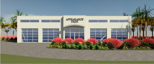A rendering of the Appearance Pros detailing shop proposed next to the Goodyear store and behind the Dolphin Auto Spa car wash under construction on Collier Boulevard in East Naples.