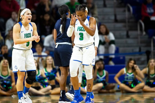 Florida Gulf Coast University's Keri Jewett-Giles reacts to a play during a game against University of North Florida at Alico Arena on Sunday.