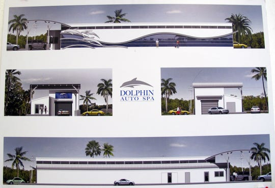 Renderings of the Dolphin Auto Spa car wash under construction on Collier Boulevard next to the Goodyear Collier Car Care Center north of the RaceTrac station at Manatee Road in East Naples.