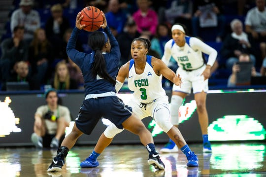 FGCU basketball player and Dunbar graduate Keri Jewett-Giles, shown during a Jan. 27 home game, was suspended one game by the ASUN conference following an altercation with a Liberty player after a game on Saturday, Feb. 9, 2019.