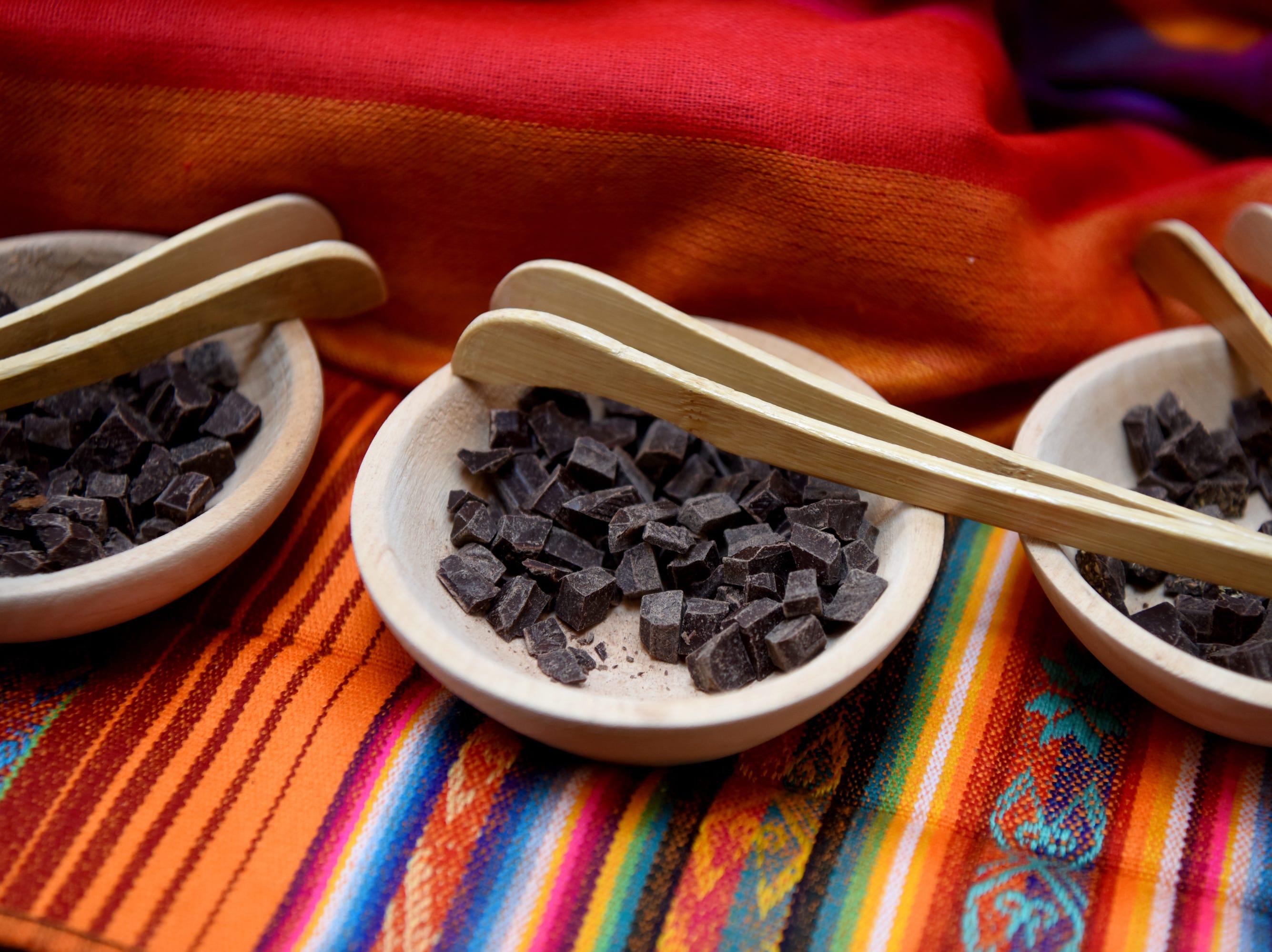 Villakuyaya Organic Dark Chocolate samples at the Chocolate Expo, held  Sunday, January 27, 2019, at Westfield Garden State Plaza in Paramus.