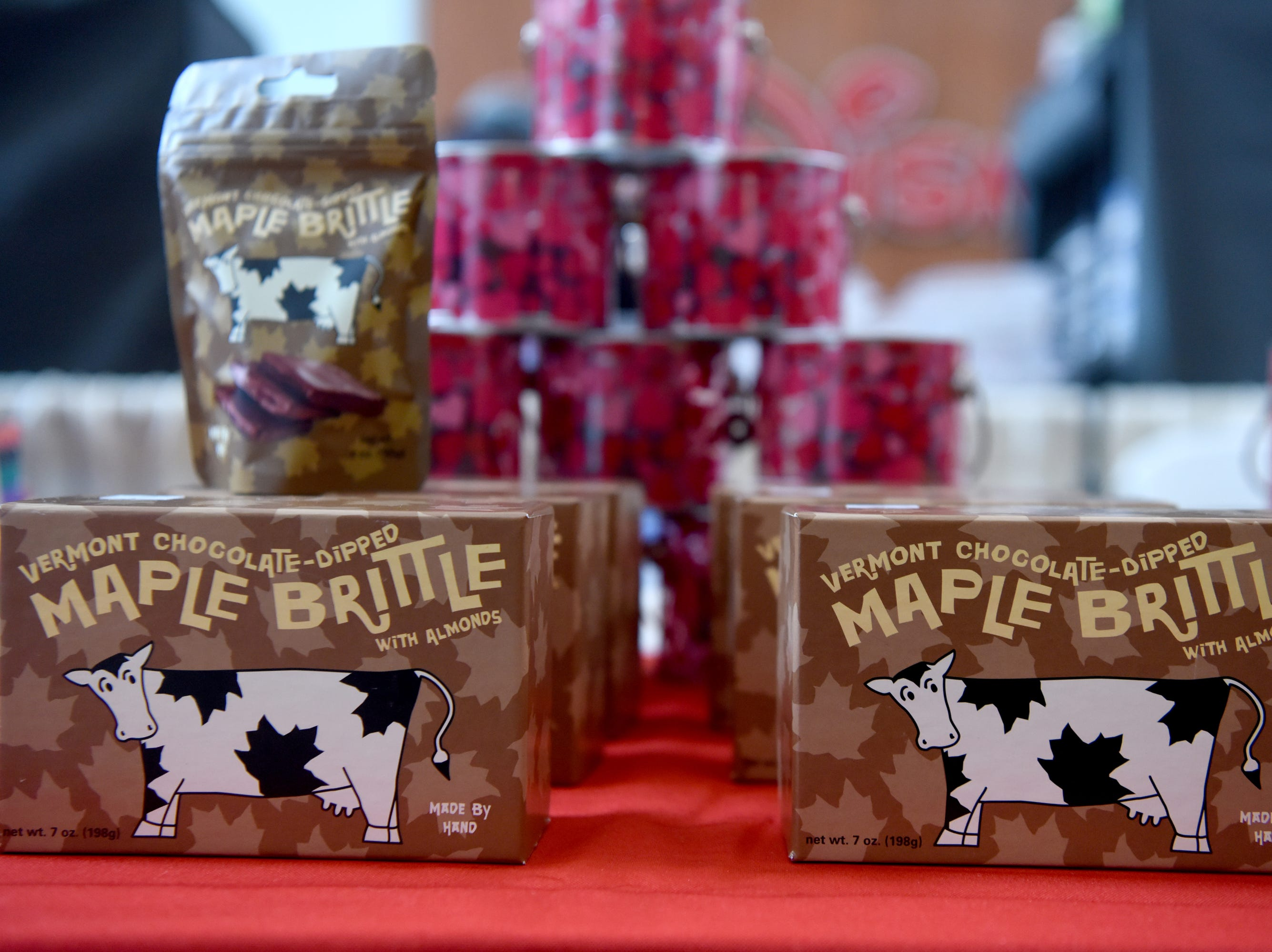 Sweet on Vermont, a company based in Burlington, Vt. and owned by Teaneck native Erika Henik, sold its Vermont Maple Brittle and Mooonlight in Vermont Bars at the Chocolate Expo on Sunday, January 27, 2019, at Westfield Garden State Plaza in Paramus.