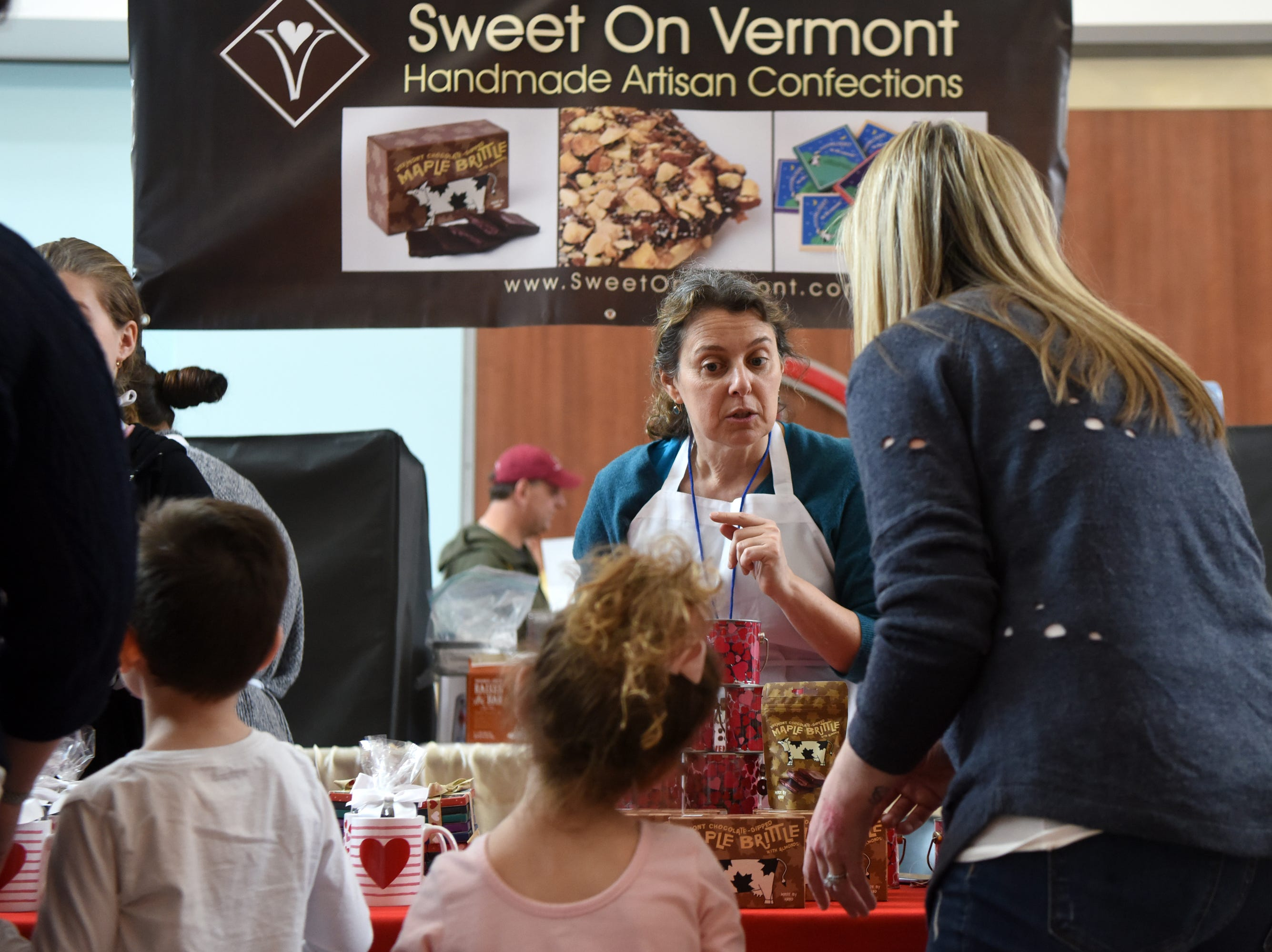 Erika Henik, a native of Teaneck, owns Sweet on Vermont, based in Burlington, Vt. Henik sold the company's Vermont Maple Brittle and Mooonlight in Vermont Bars at the Chocolate Expo, held Sunday, January 27, 2019, at Westfield Garden State Plaza in Paramus.