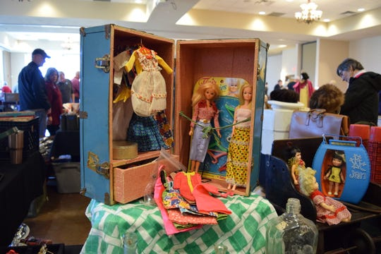This 1970s Barbie collection — stored in a 1960s metal doll trunk, is among the items on display at the Antique Treasures Show at the New Mexico State Farm & Ranch Heritage Museum