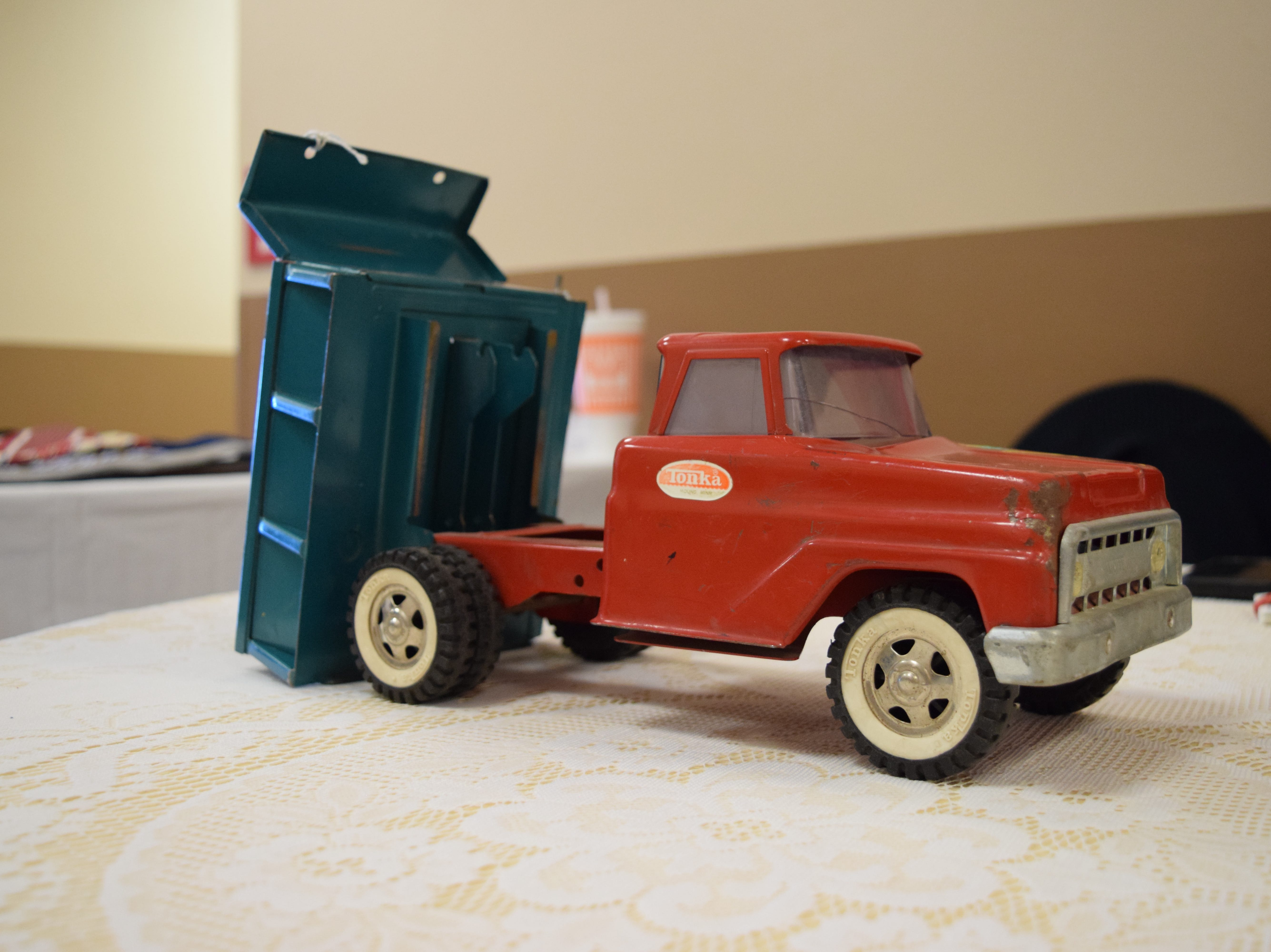 Almost every kid growing up has owned a Tonka toy truck. This red and blue dump truck is circa 1960s and is made of pressed steel. It is said that Tonka benefited from the end of World War II because there was an excess supply of steel, which they could use to craft their trucks. — Antiques Treasures Show at the Farm and Ranch Heritage Museum, Jan. 26, 2019.