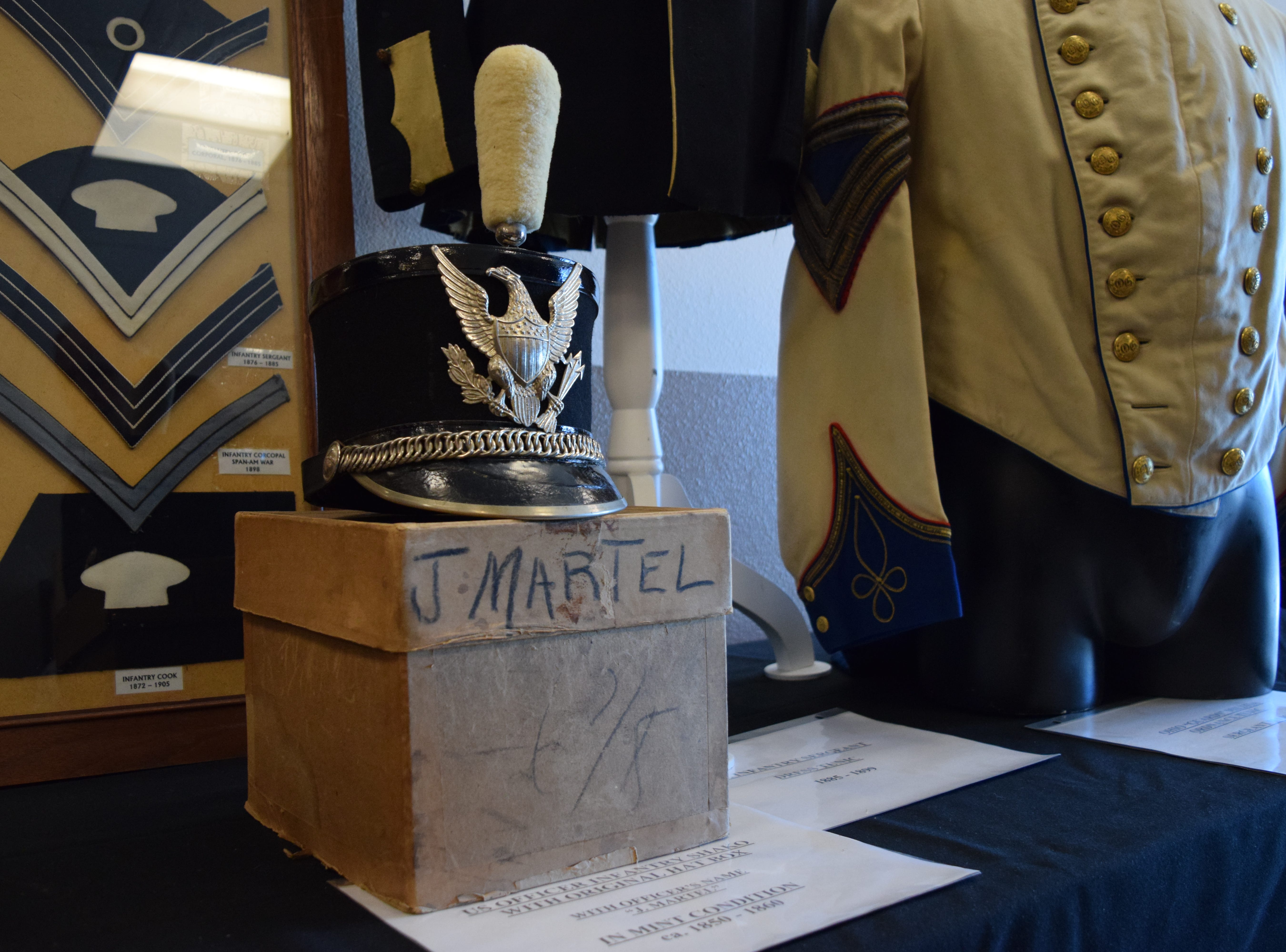 Once worn by infantry officer J. Martel, this mint-condition shako is estimated to be from the 1850s. Unique to this shako is the original hat box with name and size, as hat boxes were usually discarded soon after issue. — Antiques Treasures Show at the Farm and Ranch Heritage Museum, Jan. 26, 2019.