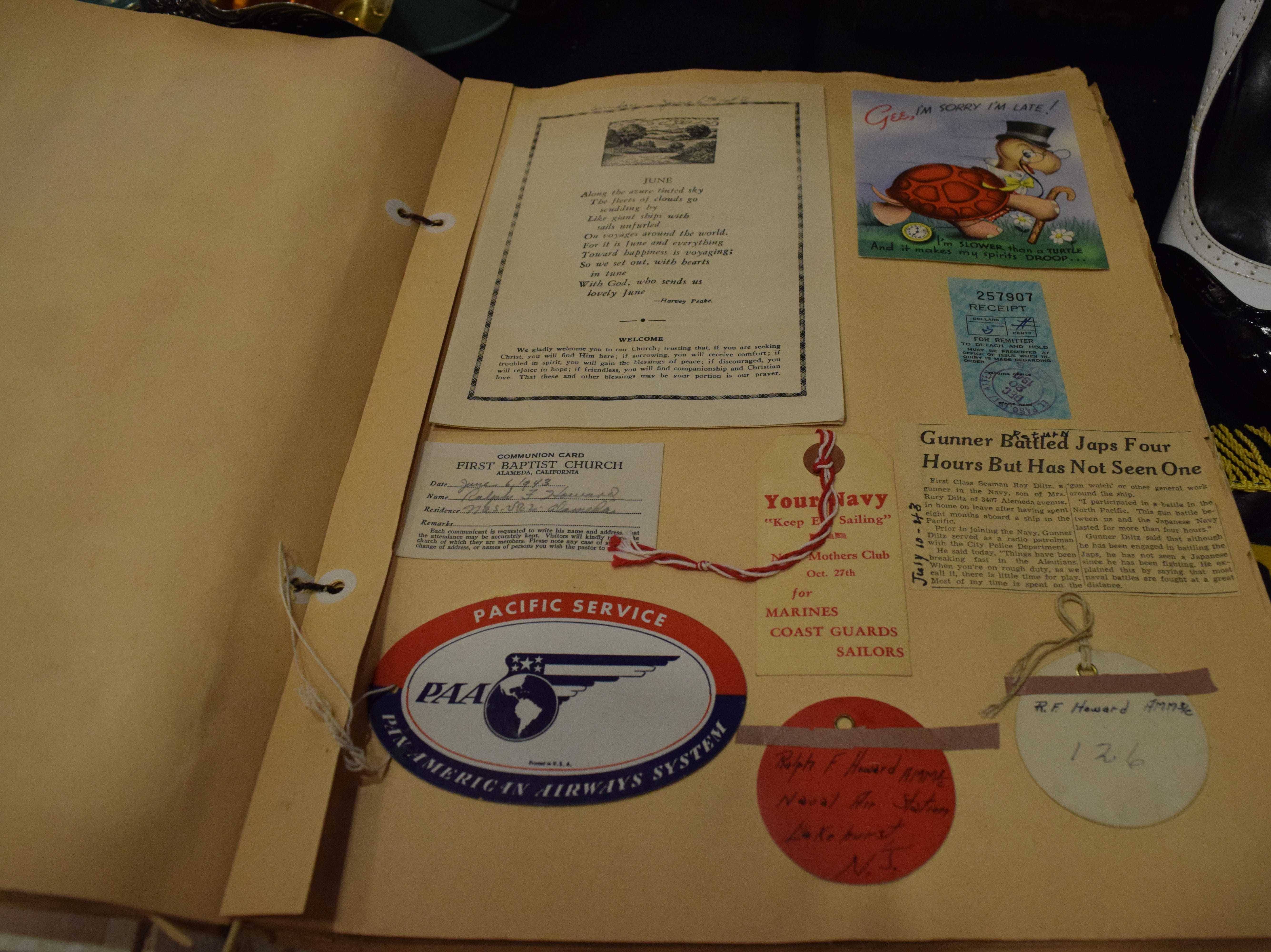 This scrapbook was created during World War II by a Mrs. A F Howard in El Paso. It chronicled the lives of her three sons who all joined the navy to fight in the war. The scrapbook features news clipping, luggage tags, telegrams and even bar napkins that her sons would send back to her. — Antiques Treasures Show at the Farm and Ranch Heritage Museum, Jan. 26, 2019.