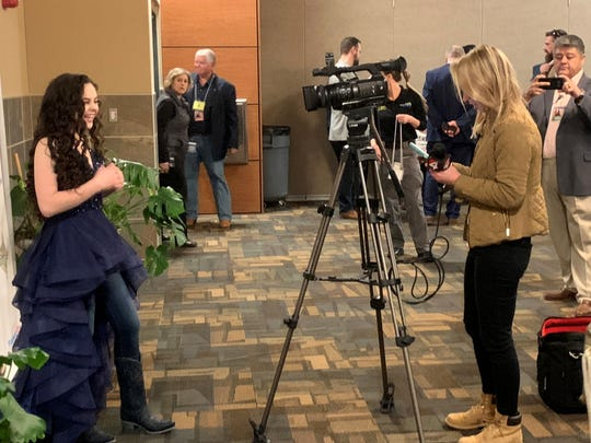Chevel Shepherd fielded questions from reporters before her hometown concert Jan. 26, 2019 in Farmington Civic Center.